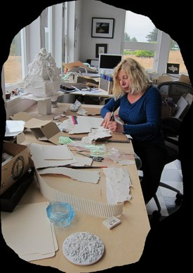 Shelley Martin working in her studio: photo by Sienna M Potts July 24, 2011