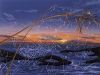 Sunset and Web -- artwork © Shelley Martin (click to see a larger version of the painting)
