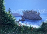 Trinidad Rock -- artwork © Shelley Martin (click to see a larger version of the painting)